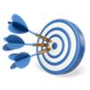 Webstrategi logo - dart pile som rammer målet
